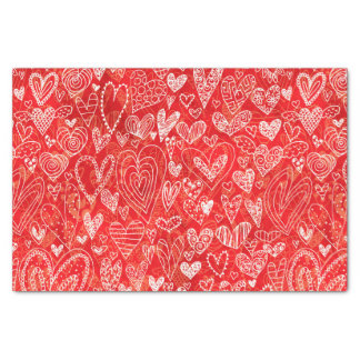 Valentine's Day Hearts on Red Tissue Paper