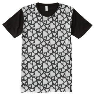 Valentine's Day Hearts Pattern. Custom BG Color! All-Over Print T-Shirt