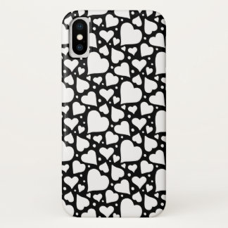 Valentine's Day Hearts Pattern. Custom BG Colour! iPhone X Case