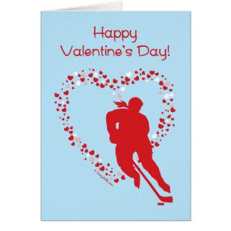 Valentine's Day Hockey (female) Greeting Card