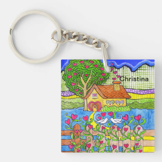Valentine's Day House of Hearts with Doves Key Ring
