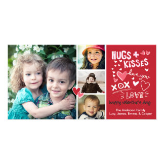 Valentine's Day Hugs and Kisses Love You Personalised Photo Card