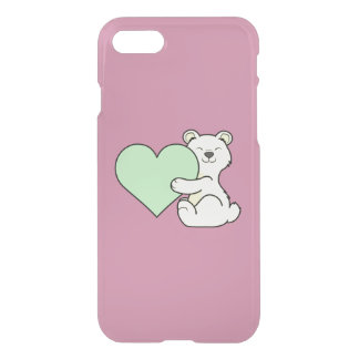 Valentine's Day Kermode Bear - Light Green Heart iPhone 7 Case