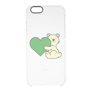 Valentine's Day Kermode Bear with Green Heart Clear iPhone 6/6S Case
