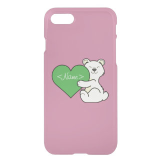 Valentine's Day Kermode Bear with Green Heart iPhone 7 Case