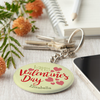 Valentine's Day Key Typography Chain Cactus Hearts Key Ring