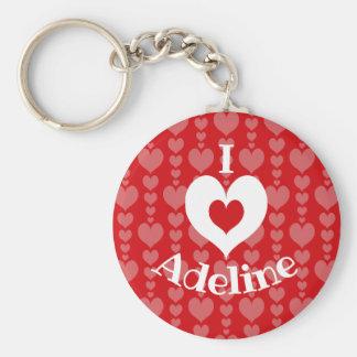 Valentine's Day KeyChain Pink Hearts on Red