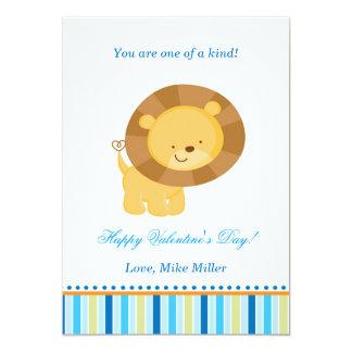 Valentines Day Kids Lion Blue Greeting Card 13 Cm X 18 Cm Invitation Card
