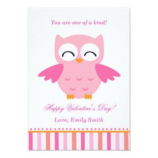 Valentines Day Kids Owl Pink Greeting Card 13 Cm X 18 Cm Invitation Card