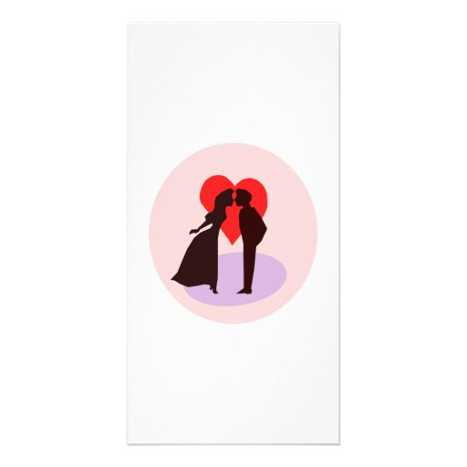 Valentine's Day Kiss and Heart Personalized Photo Card