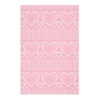 Valentine's Day Knitted Pattern 2 Stationery Paper