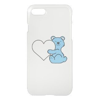 Valentine's Day Light Blue Bear with Cream Heart iPhone 7 Case