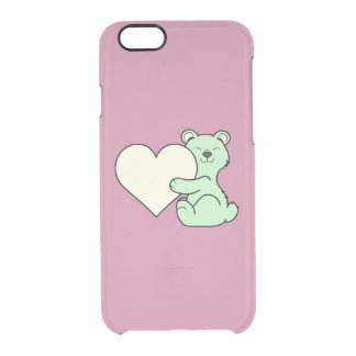 Valentine's Day Light Green Bear with Cream Heart Clear iPhone 6/6S Case