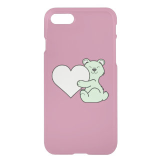 Valentine's Day Light Green Bear with Cream Heart iPhone 7 Case