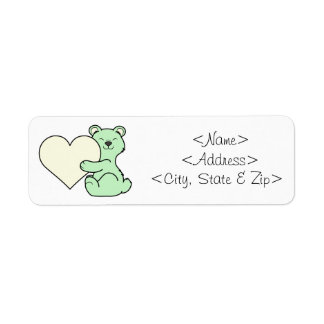 Valentine's Day Light Green Bear with Cream Heart Return Address Label
