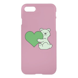 Valentine's Day Light Green Bear with Heart iPhone 7 Case