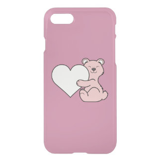 Valentine's Day Light Pink Bear with Cream Heart iPhone 7 Case