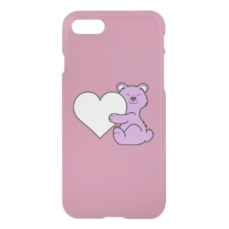 Valentine's Day Light Purple Bear with Cream Heart iPhone 7 Case