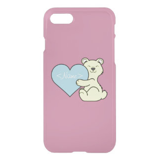Valentine's Day Light Yellow Bear with Blue Heart iPhone 7 Case