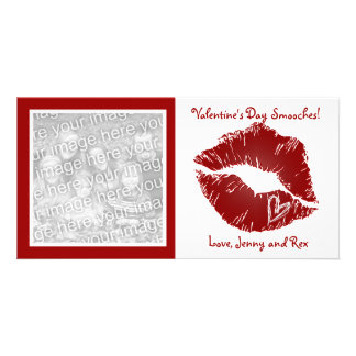 Valentine's Day Lips Smooches Photo Cards