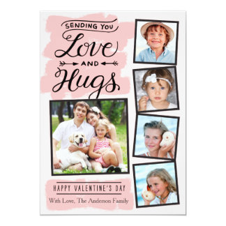 Valentine's Day Love and Hugs 5 Photo 13 Cm X 18 Cm Invitation Card