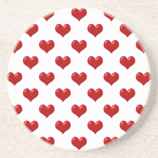 Valentine's Day Love Cute Red Hearts Pattern Drink Coaster