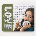 Valentine's Day LOVE Cutouts Green Photo Insert Mouse Pad