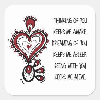 Valentine's day Love Quotes Square Sticker