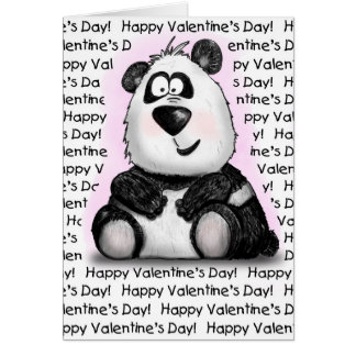 Valentine's Day Love you Bear-y Much Cartoon Panda Card