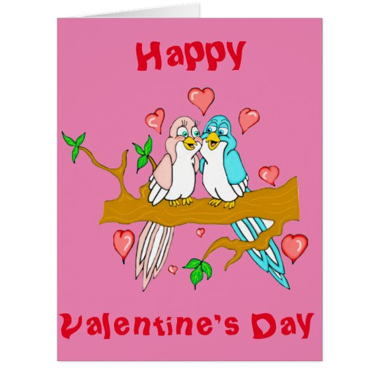 Valentines Day Lovebirds Giant Greeting Card