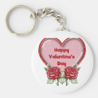 Valentines day material basic round button key ring