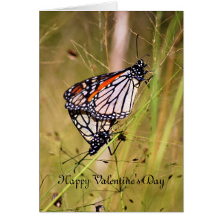 Valentine's Day Monarch Butterfly Pair Greeting Card
