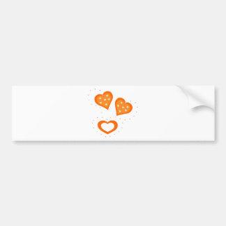Valentines Day Orange Hearts Bumper Stickers