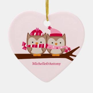 Valentines Day Owls Ceramic Heart Decoration