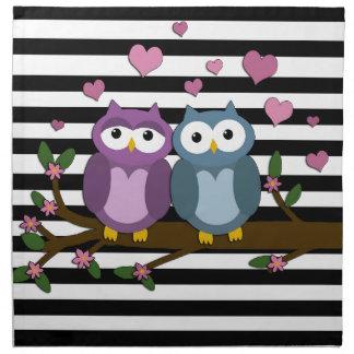 Valentines day owls napkin