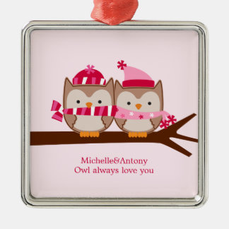 Valentines Day Owls Silver-Colored Square Decoration