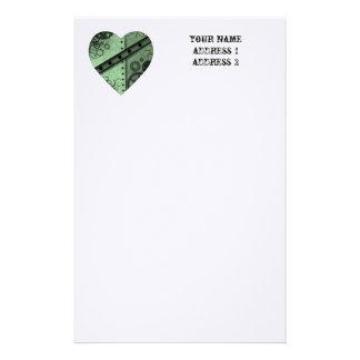 Valentine's Day pale green steampunk heart Custom Stationery