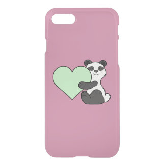 Valentine's Day Panda Bear with Light Green Heart iPhone 7 Case