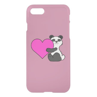 Valentine's Day Panda Bear with Pink Heart iPhone 7 Case
