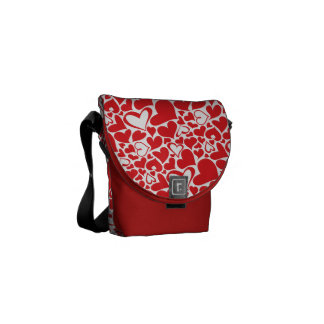 Valentine's Day Pattern passionate red hearts Courier Bags