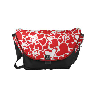 Valentine's Day Pattern passionate red hearts Messenger Bag