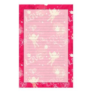Valentine's Day  Pattern With Cupid Custom Stationery