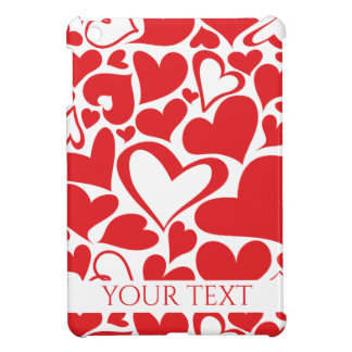 Valentine's Day pattern with red hearts iPad Mini Cover