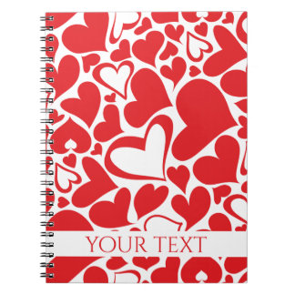 Valentine's Day pattern with red hearts Notebooks