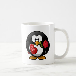Valentine's Day Penguin with Box of Candy and Rose Mugs
