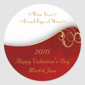 Valentine's Day Personalized Wine Label Round Sticker