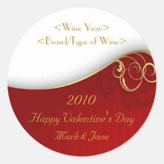 Valentine's Day Personalized Wine Label Classic Round Sticker