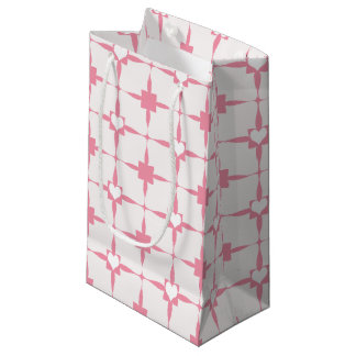 Valentine's Day Pink and White Hearts Pattern Small Gift Bag