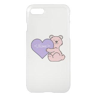 Valentine's Day Pink Bear - Light Purple Heart iPhone 7 Case