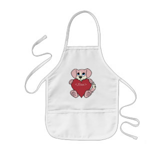 Valentine's Day Pink Dog with Blaze & Red Heart Kids Apron
